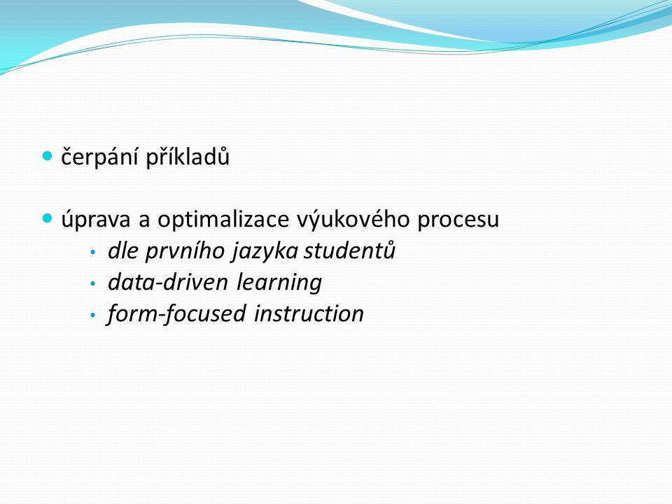 čerpání příkladů úprava a optimalizace výukového procesu dle prvního jazyka studentů data-driven learning form-focused instruction