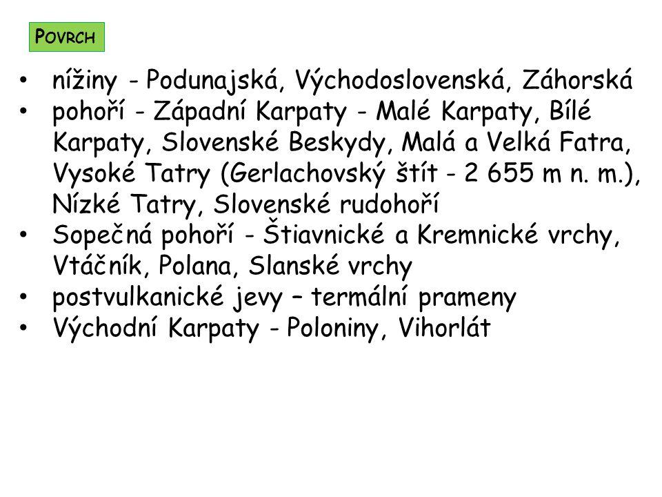 nížiny - Podunajská, Východoslovenská, Záhorská pohoří - Západní Karpaty - Malé Karpaty, Bílé Karpaty, Slovenské Beskydy, Malá a Velká Fatra, Vysoké Tatry (Gerlachovský štít - 2 655 m n.
