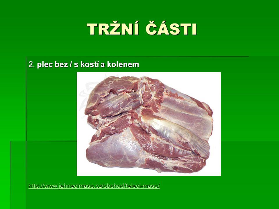 TRŽNÍ ČÁSTI 2. plec bez / s kostí a kolenem http://www.jehnecimaso.cz/obchod/teleci-maso/