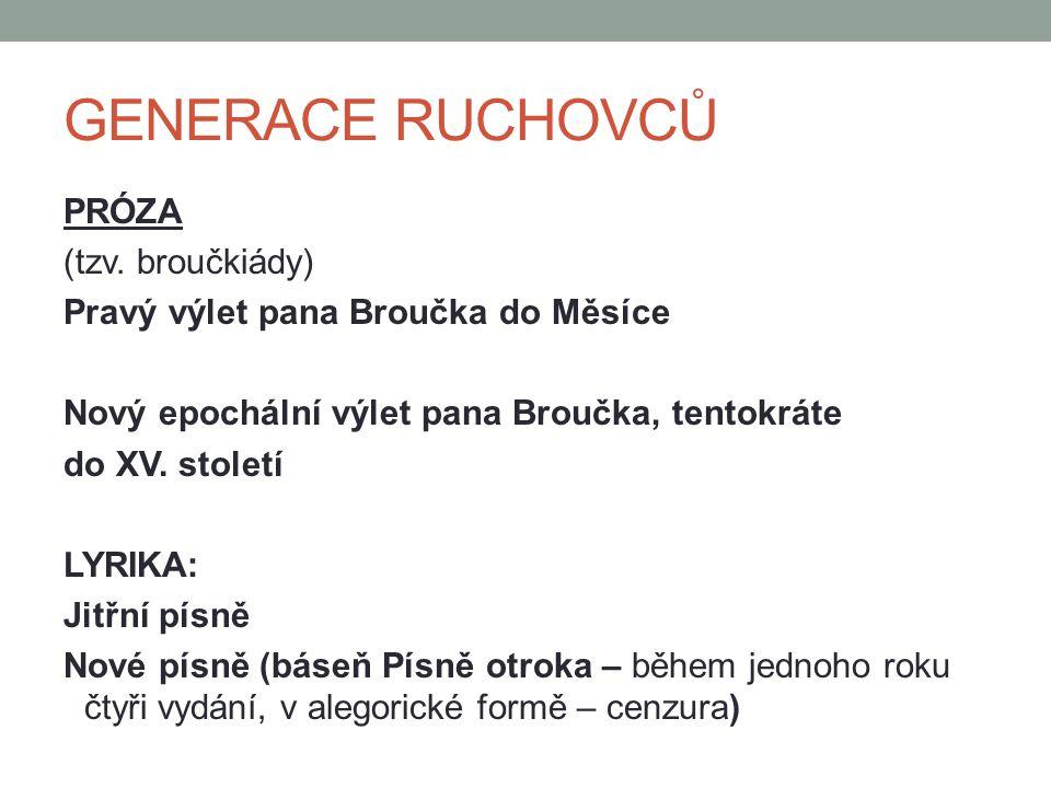GENERACE RUCHOVCŮ PRÓZA (tzv. broučkiády) Pravý výlet pana Broučka do Měsíce Nový epochální výlet pana Broučka, tentokráte do XV. století LYRIKA: Jitř