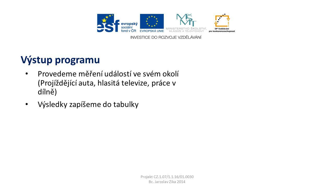 Projekt CZ.1.07/1.1.16/01.0030 Bc. Jaroslav Zika 2014 Výstup programu Provedeme měření událostí ve svém okolí (Projíždějící auta, hlasitá televize, pr