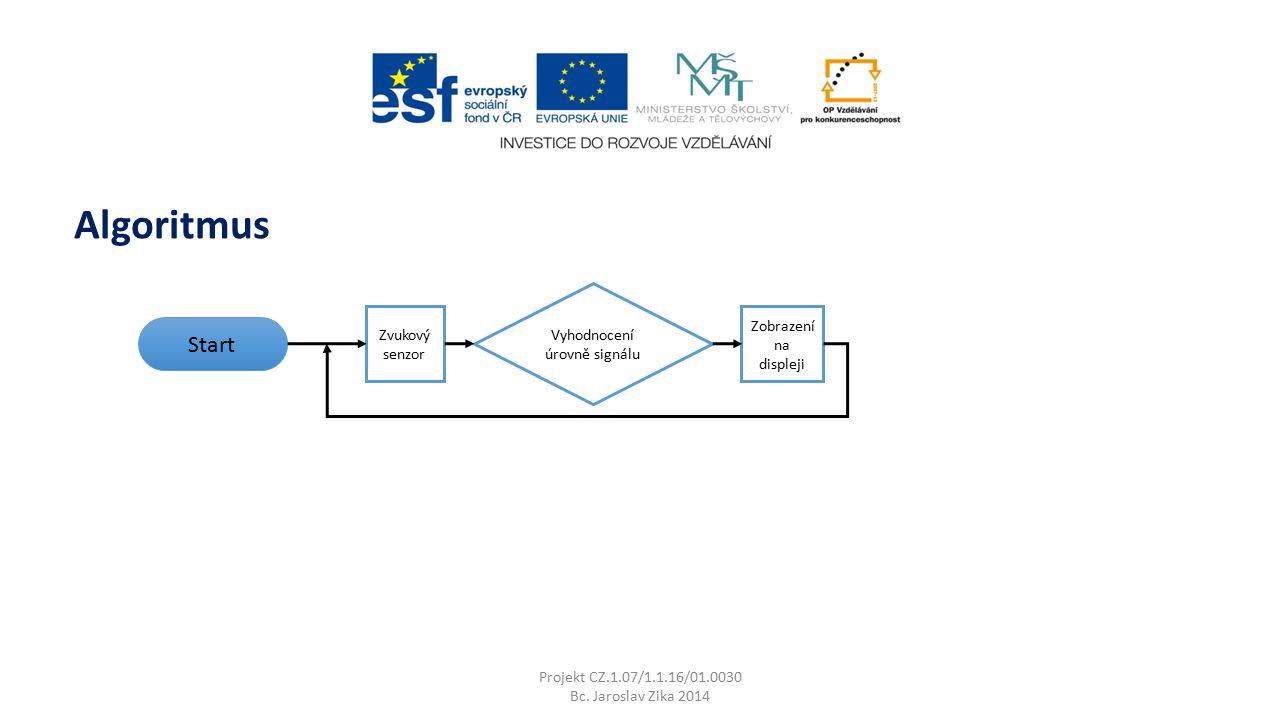 Projekt CZ.1.07/1.1.16/01.0030 Bc. Jaroslav Zika 2014 Algoritmus Start Zvukový senzor Vyhodnocení úrovně signálu Zobrazení na displeji