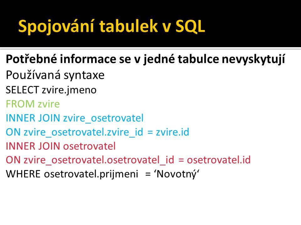 Potřebné informace se v jedné tabulce nevyskytují Používaná syntaxe SELECT zvire.jmeno FROM zvire INNER JOIN zvire_osetrovatel ON zvire_osetrovatel.zv