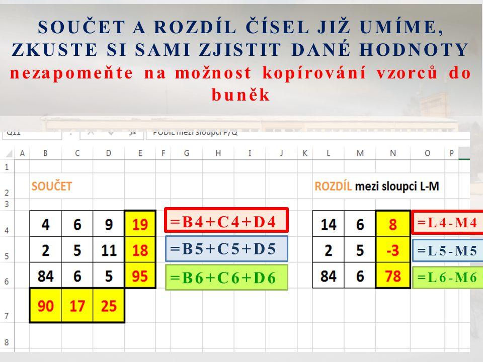 SOUČET A ROZDÍL ČÍSEL JIŽ UMÍME, ZKUSTE SI SAMI ZJISTIT DANÉ HODNOTY nezapomeňte na možnost kopírování vzorců do buněk =B4+C4+D4 =B5+C5+D5 =B6+C6+D6 =L4-M4 =L5-M5 =L6-M6
