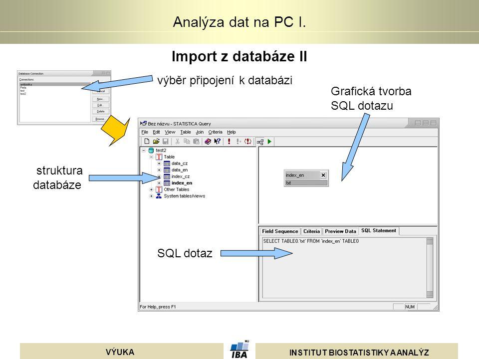 INSTITUT BIOSTATISTIKY A ANALÝZ VÝUKA Analýza dat na PC I. Import z databáze II výběr připojení k databázi struktura databáze SQL dotaz Grafická tvorb