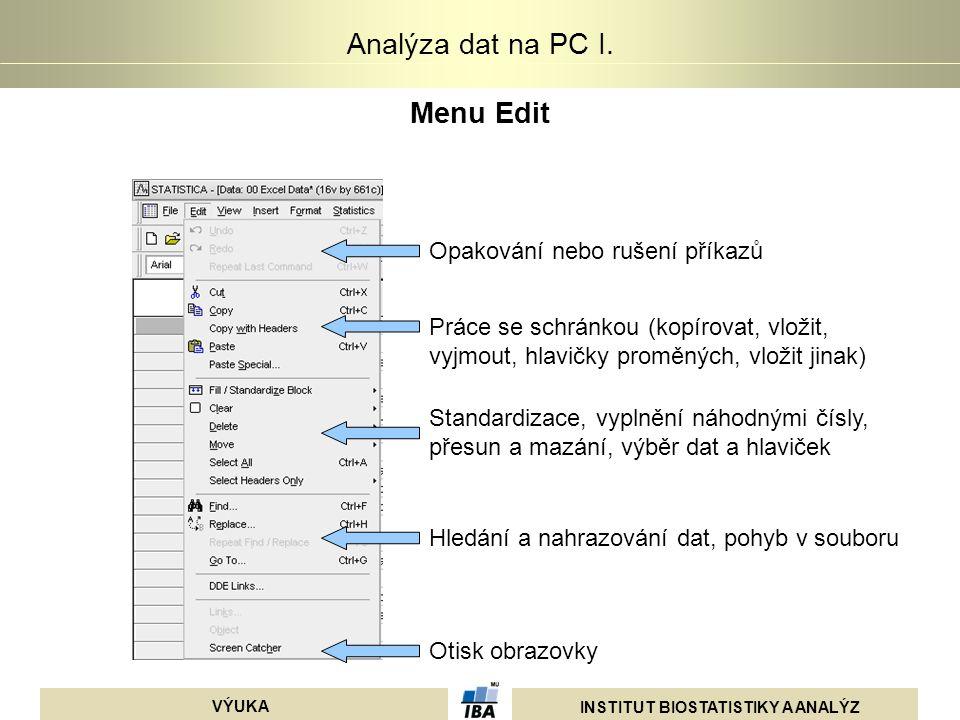 INSTITUT BIOSTATISTIKY A ANALÝZ VÝUKA Analýza dat na PC I. Menu Edit Opakování nebo rušení příkazů Práce se schránkou (kopírovat, vložit, vyjmout, hla