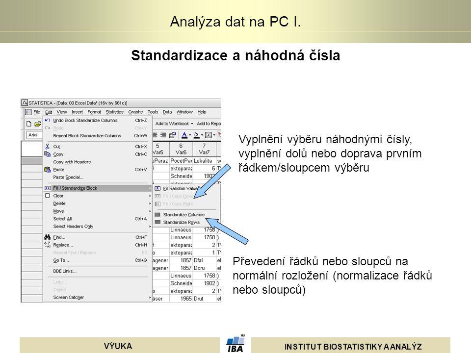 INSTITUT BIOSTATISTIKY A ANALÝZ VÝUKA Analýza dat na PC I. Standardizace a náhodná čísla Vyplnění výběru náhodnými čísly, vyplnění dolů nebo doprava p