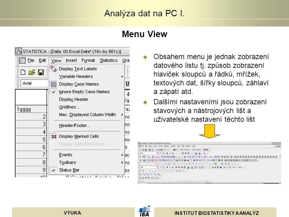 INSTITUT BIOSTATISTIKY A ANALÝZ VÝUKA Analýza dat na PC I. Menu View  Obsahem menu je jednak zobrazení datového listu tj. způsob zobrazení hlaviček s