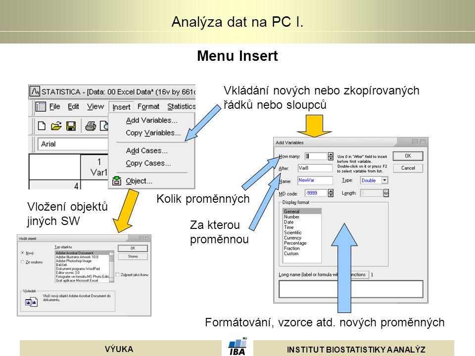 INSTITUT BIOSTATISTIKY A ANALÝZ VÝUKA Analýza dat na PC I. Menu Insert Vkládání nových nebo zkopírovaných řádků nebo sloupců Kolik proměnných Za ktero