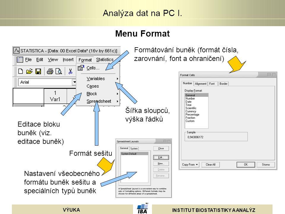 INSTITUT BIOSTATISTIKY A ANALÝZ VÝUKA Analýza dat na PC I. Menu Format Formátování buněk (formát čísla, zarovnání, font a ohraničení) Šířka sloupců, v