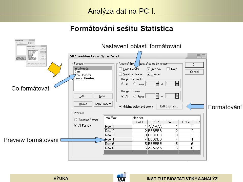 INSTITUT BIOSTATISTIKY A ANALÝZ VÝUKA Analýza dat na PC I. Formátování sešitu Statistica Co formátovat Preview formátování Nastavení oblasti formátová