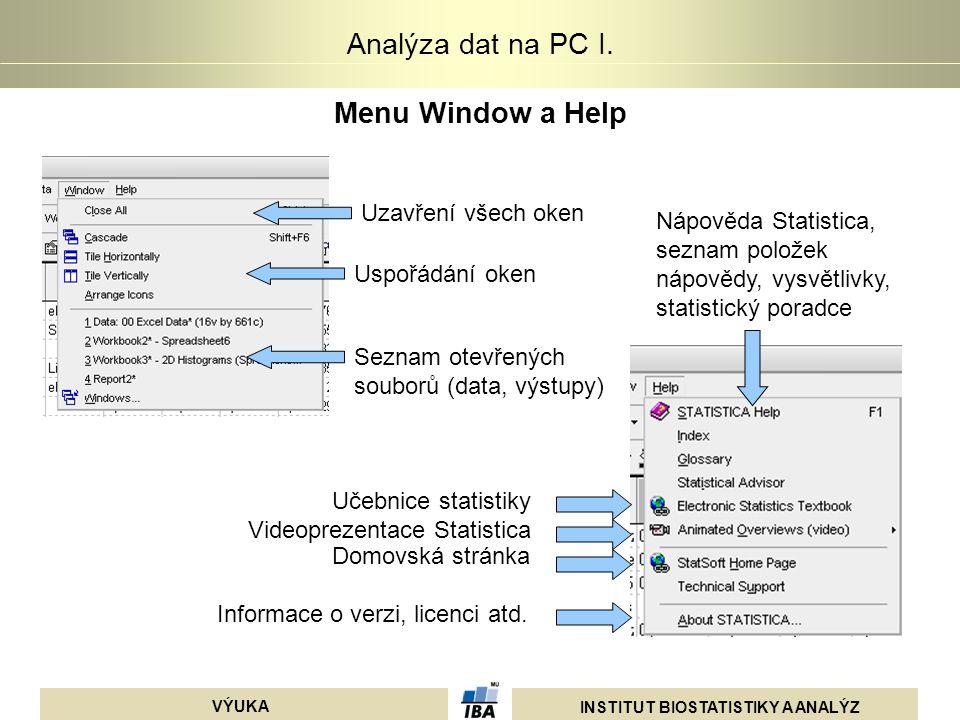 INSTITUT BIOSTATISTIKY A ANALÝZ VÝUKA Analýza dat na PC I. Menu Window a Help Uzavření všech oken Uspořádání oken Seznam otevřených souborů (data, výs
