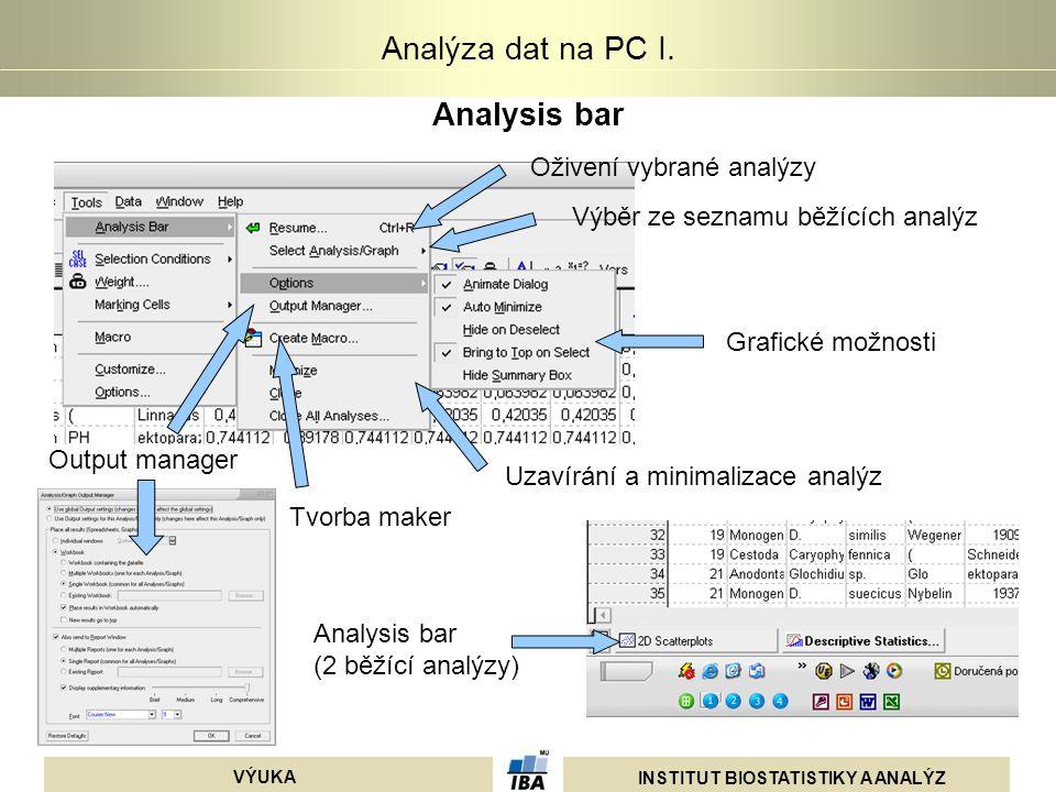 INSTITUT BIOSTATISTIKY A ANALÝZ VÝUKA Analýza dat na PC I. Analysis bar Oživení vybrané analýzy Výběr ze seznamu běžících analýz Grafické možnosti Out