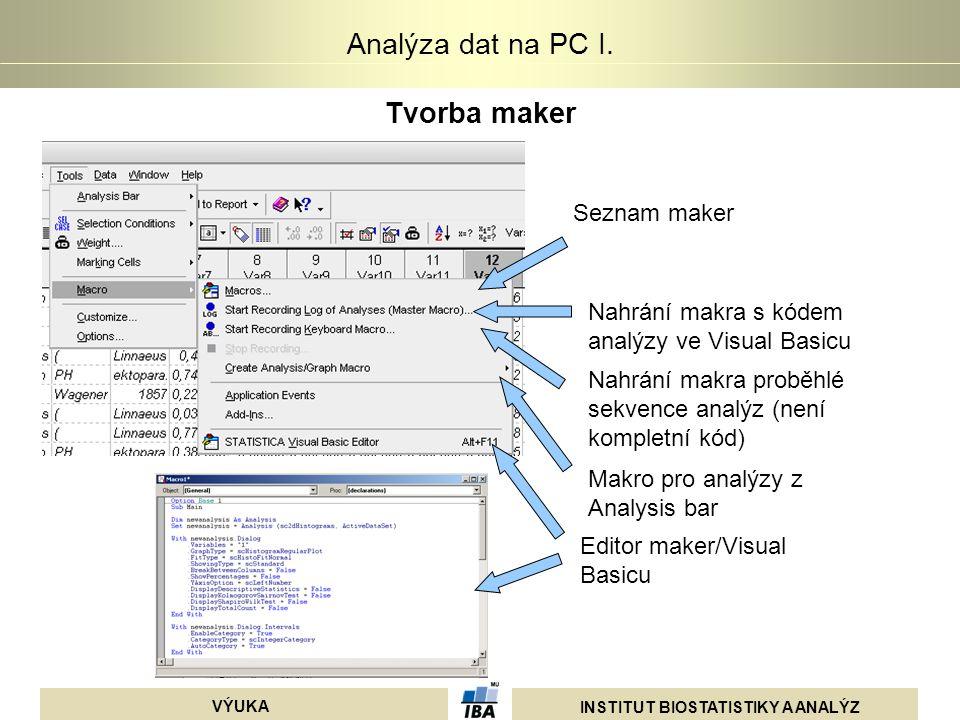 INSTITUT BIOSTATISTIKY A ANALÝZ VÝUKA Analýza dat na PC I. Tvorba maker Seznam maker Nahrání makra s kódem analýzy ve Visual Basicu Nahrání makra prob
