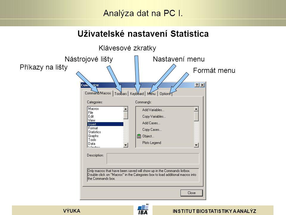INSTITUT BIOSTATISTIKY A ANALÝZ VÝUKA Analýza dat na PC I. Uživatelské nastavení Statistica Příkazy na lišty Nástrojové lišty Klávesové zkratky Nastav
