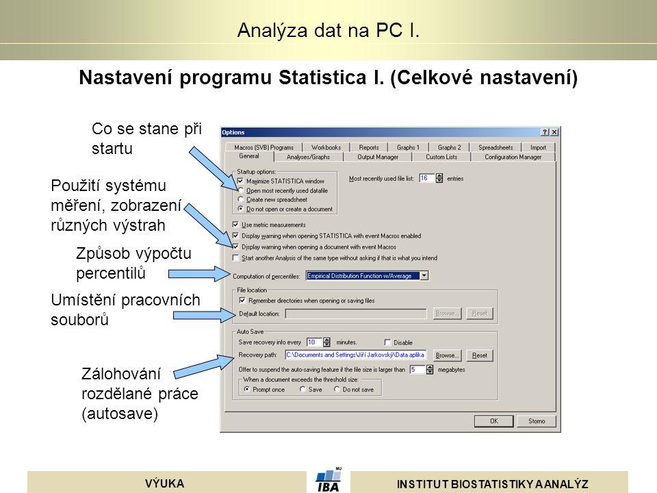 INSTITUT BIOSTATISTIKY A ANALÝZ VÝUKA Analýza dat na PC I. Nastavení programu Statistica I. (Celkové nastavení) Co se stane při startu Použití systému