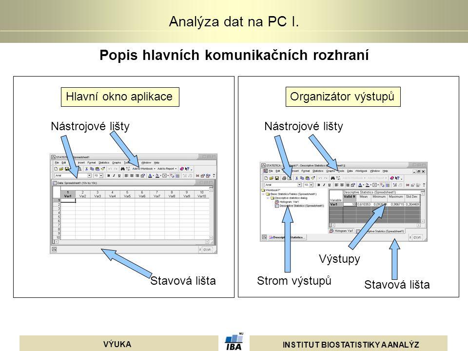 INSTITUT BIOSTATISTIKY A ANALÝZ VÝUKA Analýza dat na PC I. Popis hlavních komunikačních rozhraní Nástrojové lišty Stavová lišta Hlavní okno aplikace O