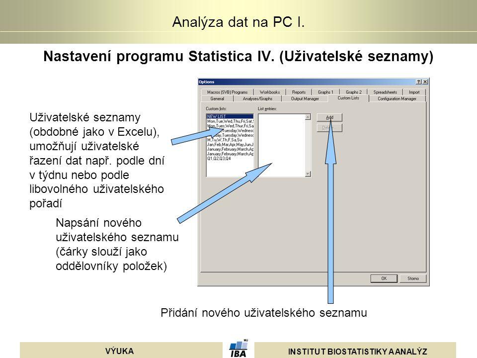 INSTITUT BIOSTATISTIKY A ANALÝZ VÝUKA Analýza dat na PC I. Nastavení programu Statistica IV. (Uživatelské seznamy) Uživatelské seznamy (obdobné jako v