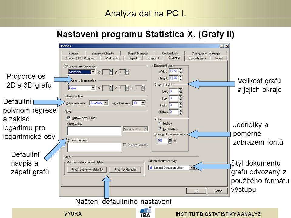 INSTITUT BIOSTATISTIKY A ANALÝZ VÝUKA Analýza dat na PC I. Nastavení programu Statistica X. (Grafy II) Proporce os 2D a 3D grafu Velikost grafů a jeji