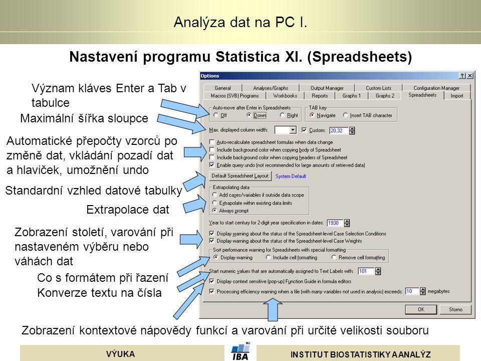 INSTITUT BIOSTATISTIKY A ANALÝZ VÝUKA Analýza dat na PC I. Nastavení programu Statistica XI. (Spreadsheets) Význam kláves Enter a Tab v tabulce Maximá