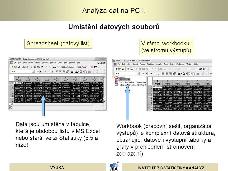 INSTITUT BIOSTATISTIKY A ANALÝZ VÝUKA Analýza dat na PC I. Umístění datových souborů Spreadsheet (datový list)V rámci workbooku (ve stromu výstupů) Da