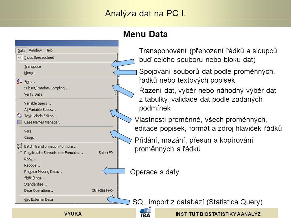 INSTITUT BIOSTATISTIKY A ANALÝZ VÝUKA Analýza dat na PC I. Menu Data Transponování (přehození řádků a sloupců buď celého souboru nebo bloku dat) Spojo