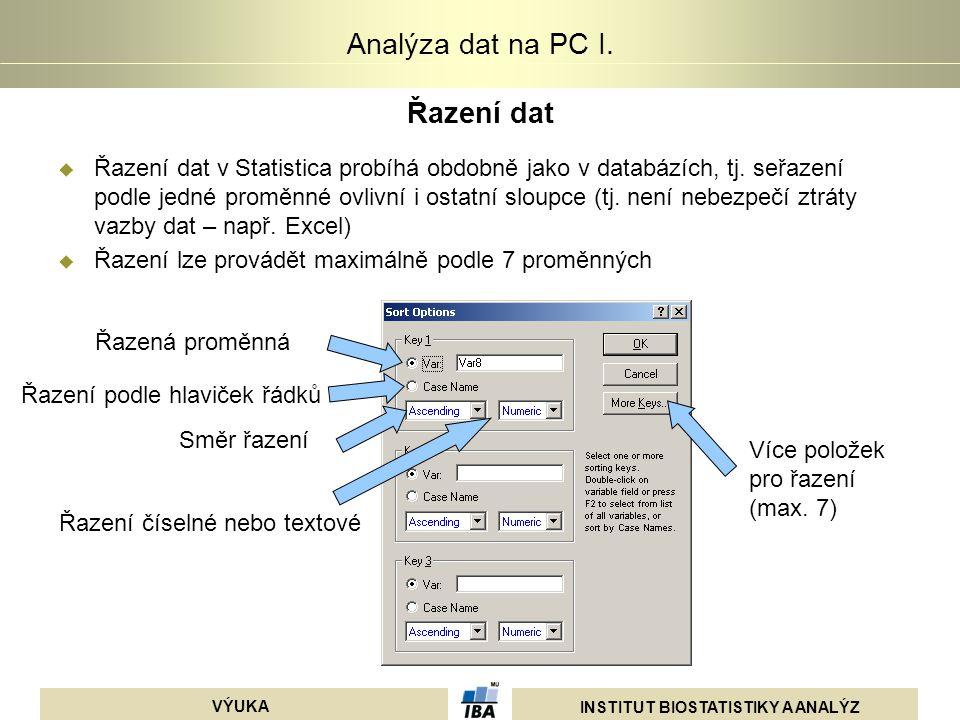 INSTITUT BIOSTATISTIKY A ANALÝZ VÝUKA Analýza dat na PC I. Řazení dat  Řazení dat v Statistica probíhá obdobně jako v databázích, tj. seřazení podle