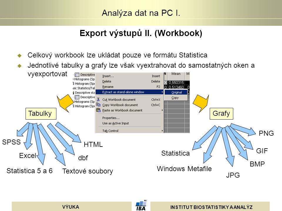 INSTITUT BIOSTATISTIKY A ANALÝZ VÝUKA Analýza dat na PC I. Export výstupů II. (Workbook)  Celkový workbook lze ukládat pouze ve formátu Statistica 