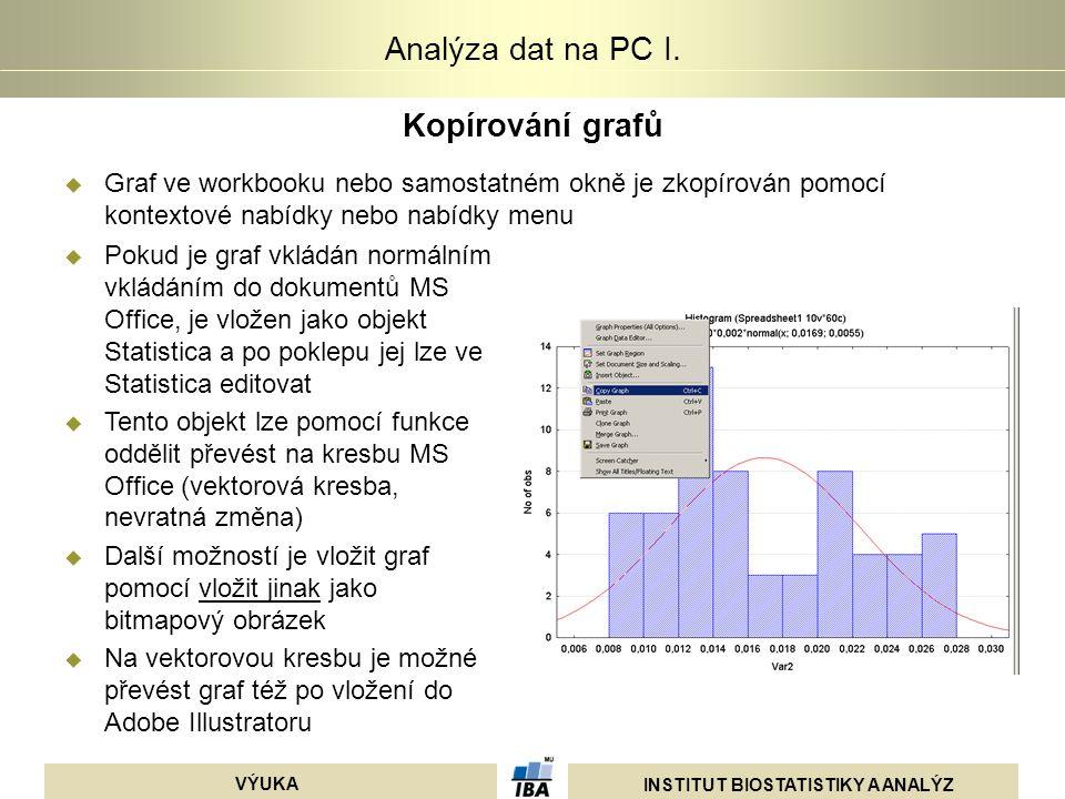 INSTITUT BIOSTATISTIKY A ANALÝZ VÝUKA Analýza dat na PC I. Kopírování grafů  Graf ve workbooku nebo samostatném okně je zkopírován pomocí kontextové