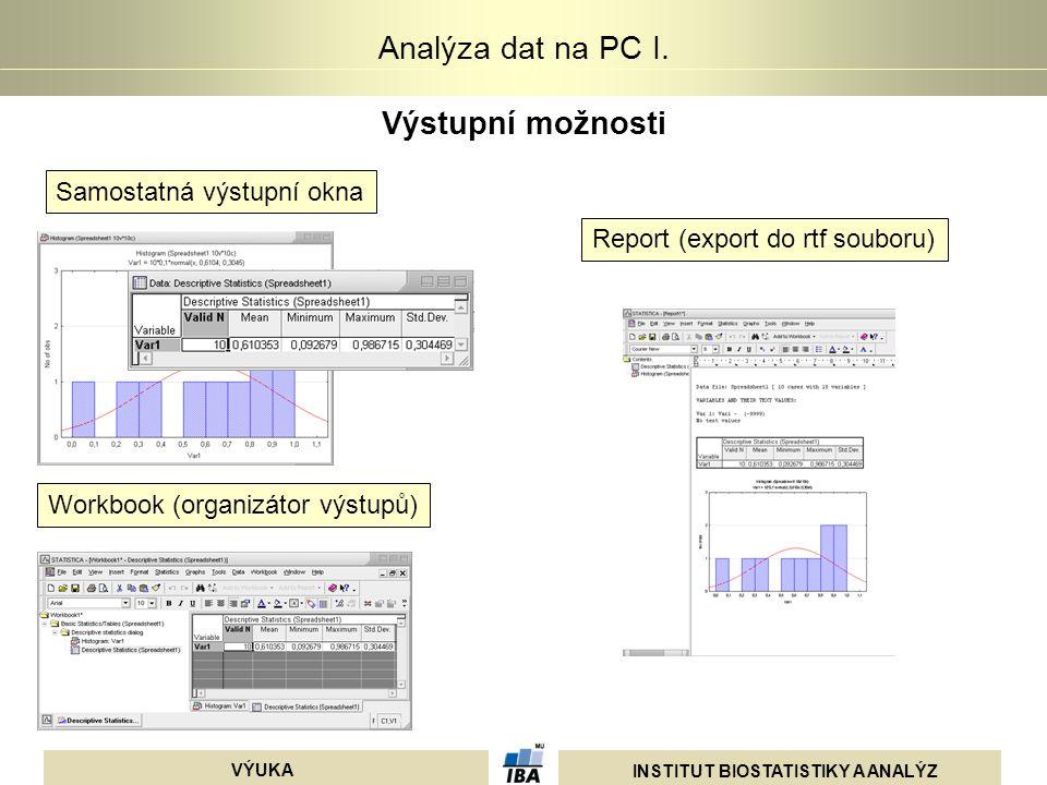 INSTITUT BIOSTATISTIKY A ANALÝZ VÝUKA Analýza dat na PC I. Výstupní možnosti Samostatná výstupní okna Report (export do rtf souboru) Workbook (organiz