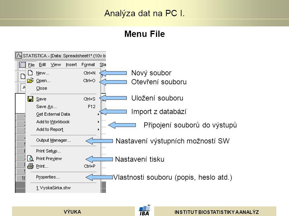 INSTITUT BIOSTATISTIKY A ANALÝZ VÝUKA Analýza dat na PC I. Menu File Nový soubor Nastavení tisku Vlastnosti souboru (popis, heslo atd.) Otevření soubo