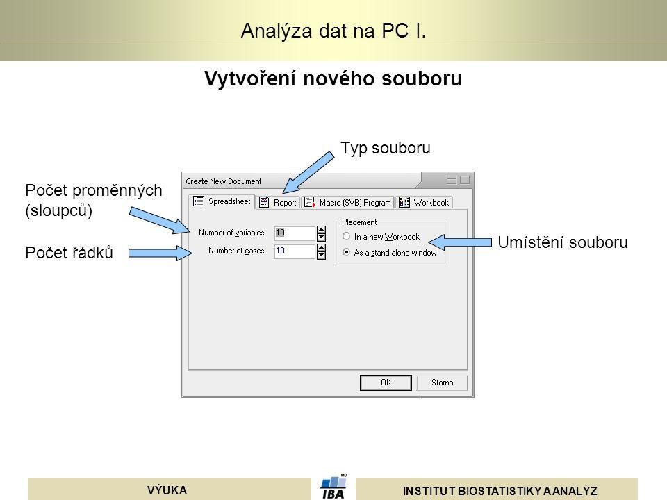 INSTITUT BIOSTATISTIKY A ANALÝZ VÝUKA Analýza dat na PC I. Vytvoření nového souboru Umístění souboru Typ souboru Počet proměnných (sloupců) Počet řádk