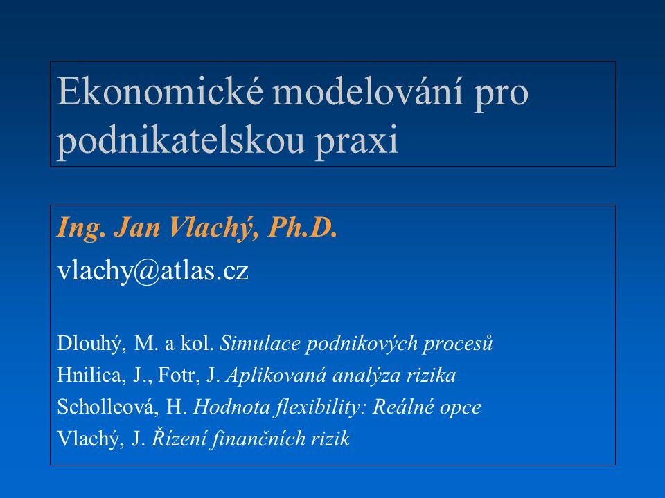 Ekonomické modelování pro podnikatelskou praxi Ing. Jan Vlachý, Ph.D. vlachy@atlas.cz Dlouhý, M. a kol. Simulace podnikových procesů Hnilica, J., Fotr