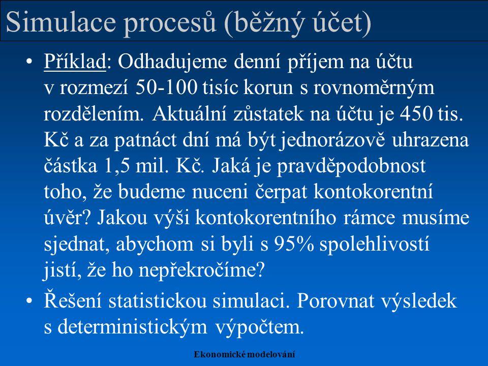 Ekonomické modelování Simulace procesů (běžný účet) Příklad: Odhadujeme denní příjem na účtu v rozmezí 50-100 tisíc korun s rovnoměrným rozdělením. Ak