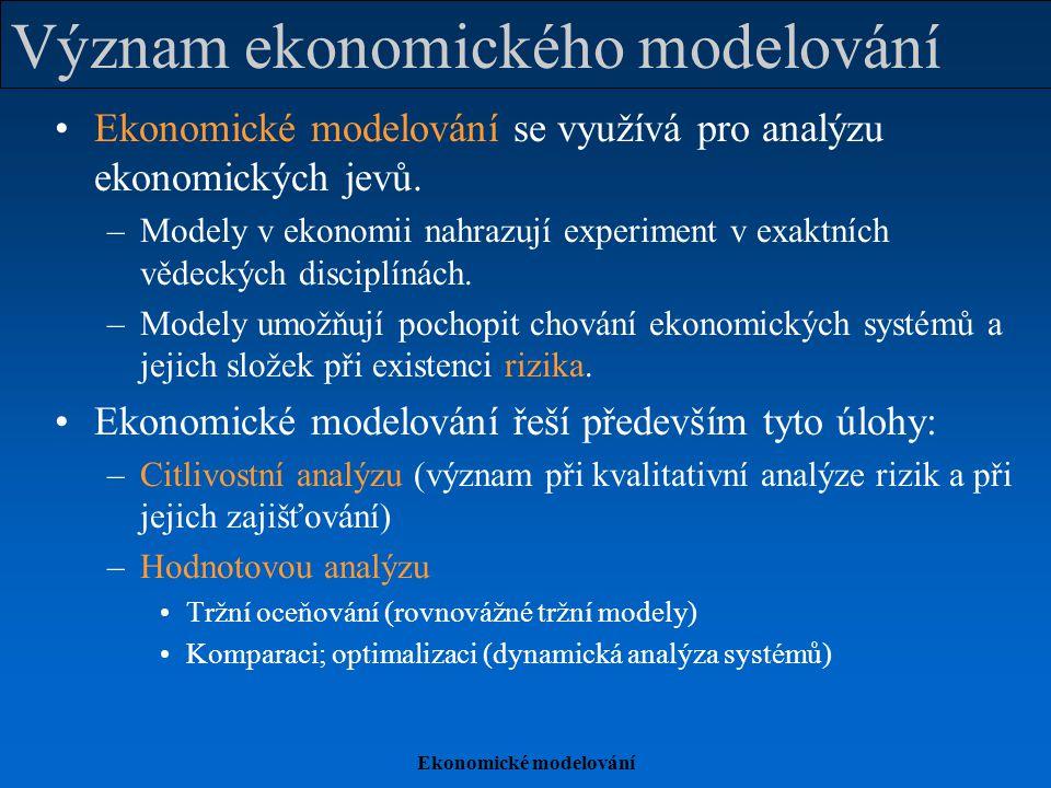 Ekonomické modelování Význam ekonomického modelování Ekonomické modelování se využívá pro analýzu ekonomických jevů. –Modely v ekonomii nahrazují expe