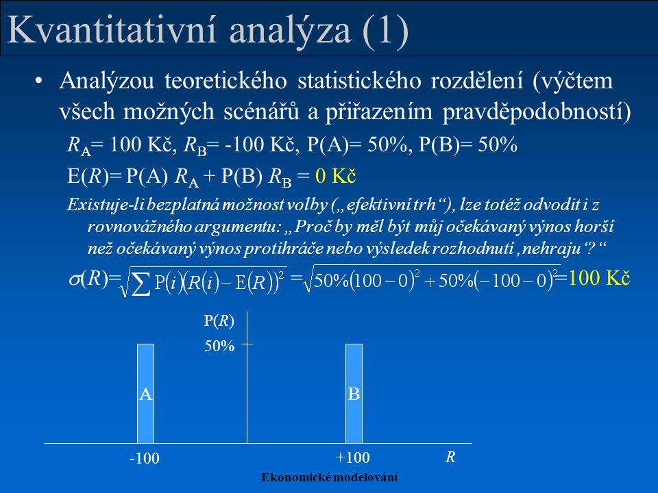 Ekonomické modelování Kvantitativní analýza (1) Analýzou teoretického statistického rozdělení (výčtem všech možných scénářů a přiřazením pravděpodobno