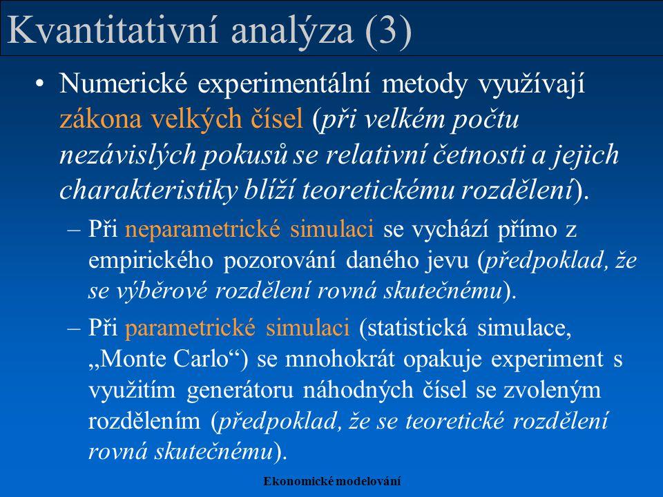 Ekonomické modelování Kvantitativní analýza (3) Numerické experimentální metody využívají zákona velkých čísel (při velkém počtu nezávislých pokusů se