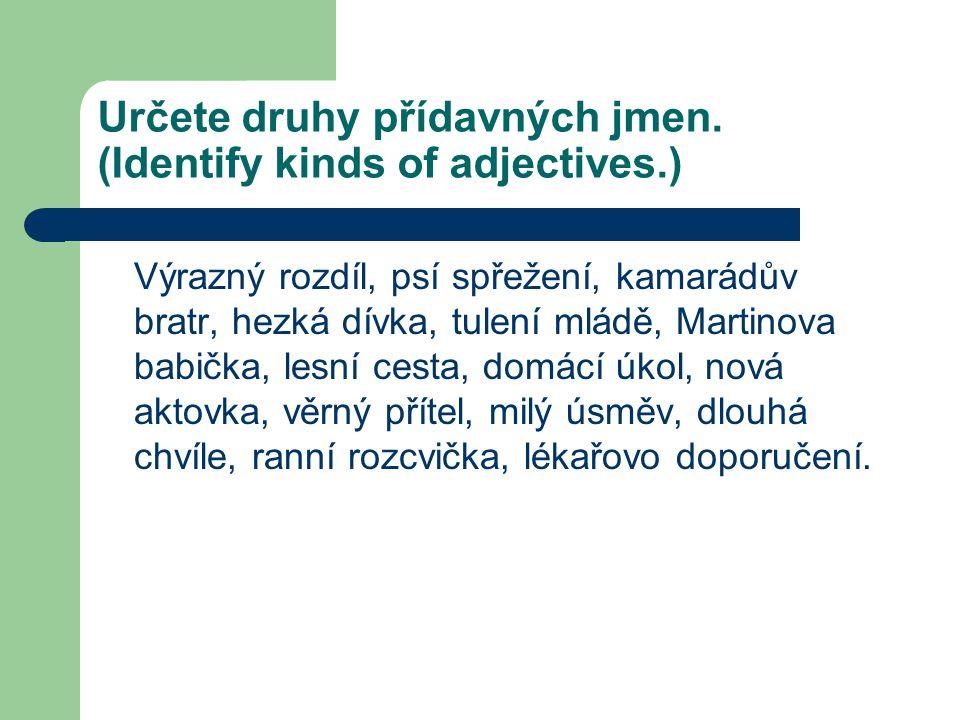 Určete druhy přídavných jmen. (Identify kinds of adjectives.) Výrazný rozdíl, psí spřežení, kamarádův bratr, hezká dívka, tulení mládě, Martinova babi