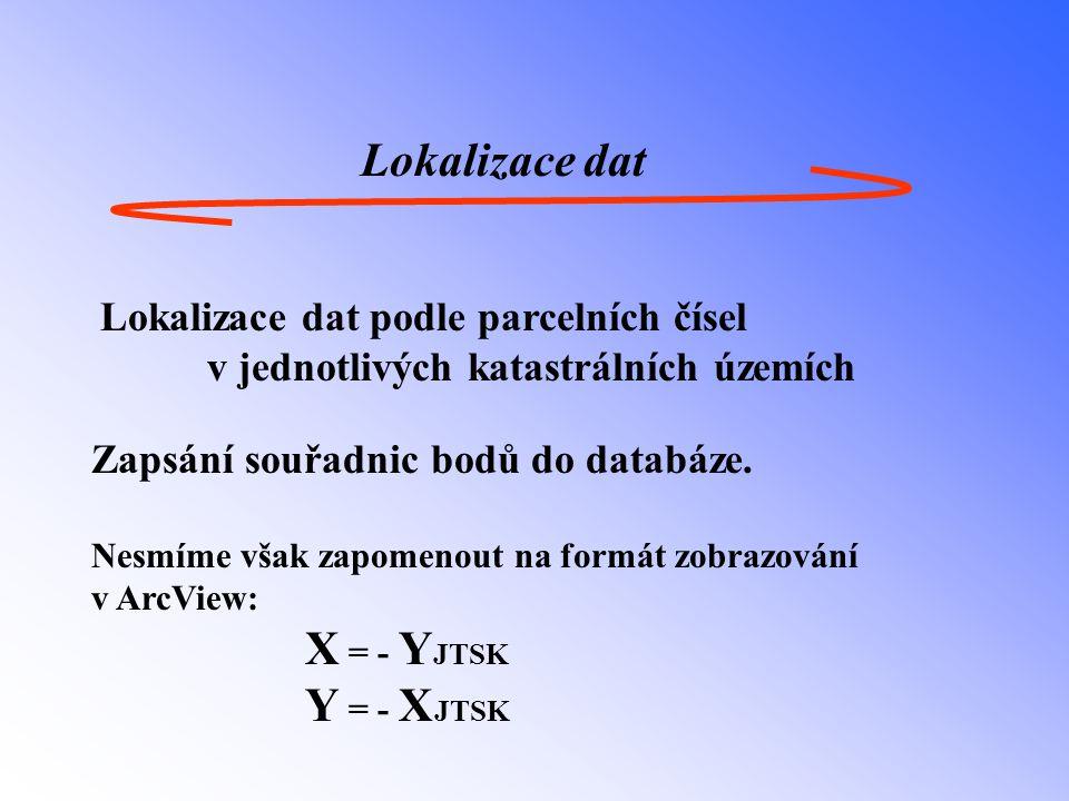 Lokalizace dat Lokalizace dat podle parcelních čísel v jednotlivých katastrálních územích Zapsání souřadnic bodů do databáze.