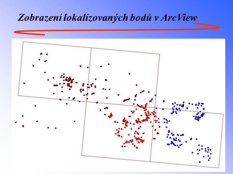 Zobrazení lokalizovaných bodů v ArcView