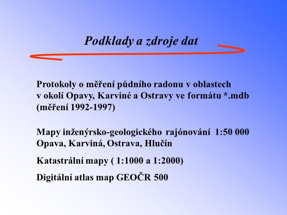 Podklady a zdroje dat Protokoly o měření půdního radonu v oblastech v okolí Opavy, Karviné a Ostravy ve formátu *.mdb (měření 1992-1997) Mapy inženýrsko-geologického rajónování 1:50 000 Opava, Karviná, Ostrava, Hlučín Katastrální mapy ( 1:1000 a 1:2000) Digitální atlas map GEOČR 500