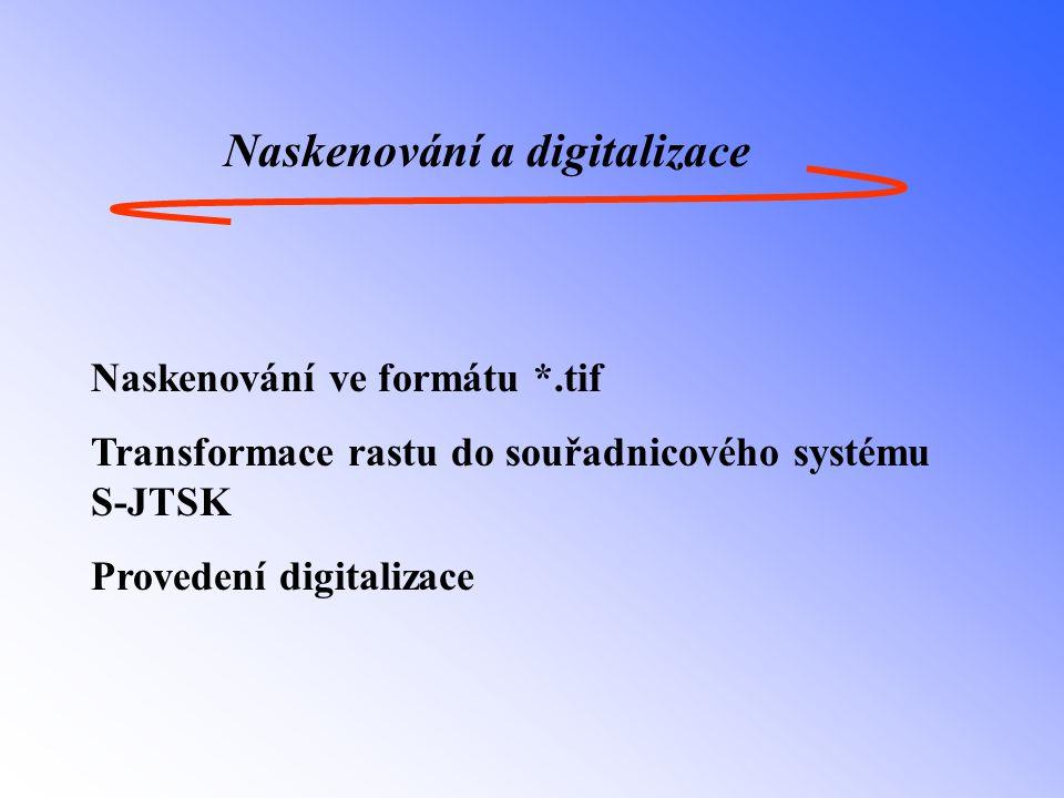 Naskenování a digitalizace Naskenování ve formátu *.tif Transformace rastu do souřadnicového systému S-JTSK Provedení digitalizace