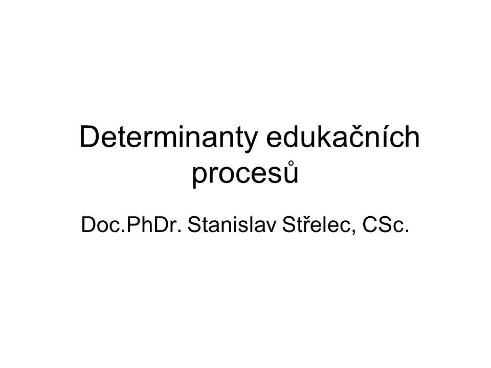 Determinace : 1.vymezení – určení pojmů, 2.stanovení vývojového směru, 3.vztah mezi určujícím a určovaným.