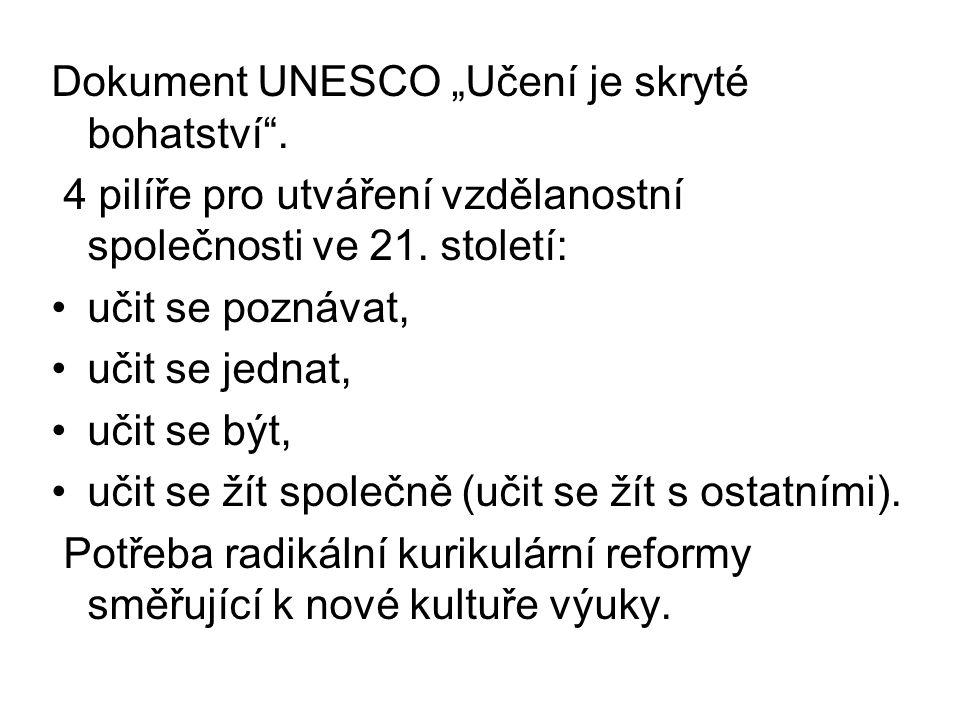"""Dokument UNESCO """"Učení je skryté bohatství"""". 4 pilíře pro utváření vzdělanostní společnosti ve 21. století: učit se poznávat, učit se jednat, učit se"""