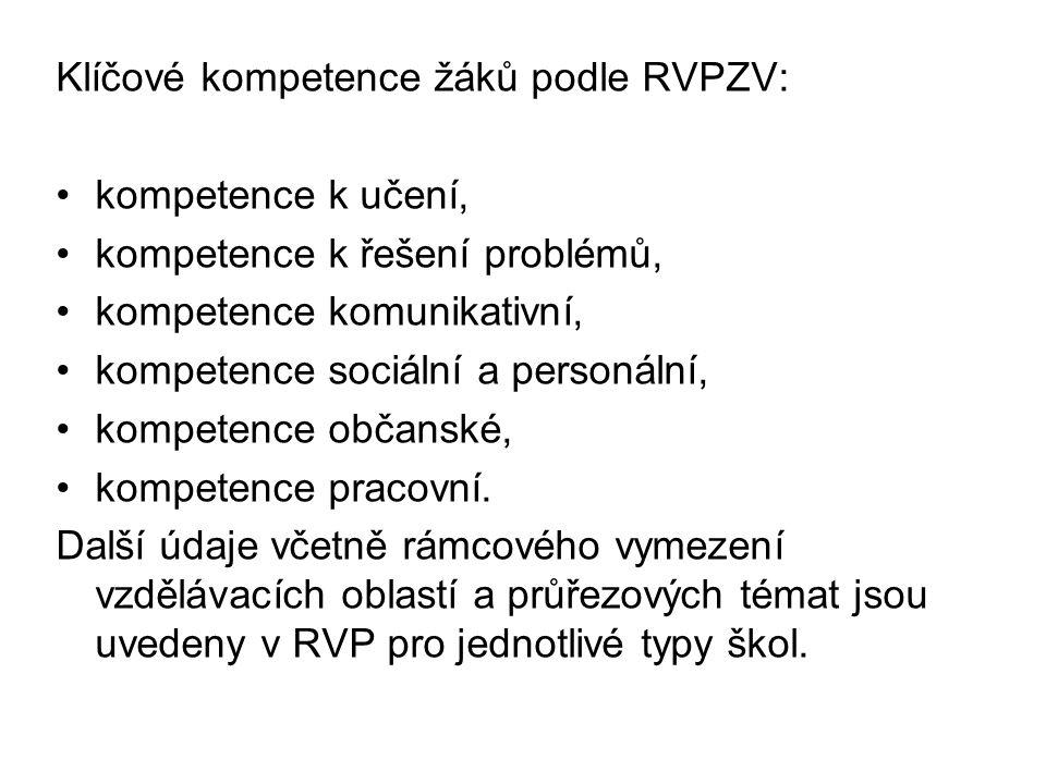 Klíčové kompetence žáků podle RVPZV: kompetence k učení, kompetence k řešení problémů, kompetence komunikativní, kompetence sociální a personální, kompetence občanské, kompetence pracovní.