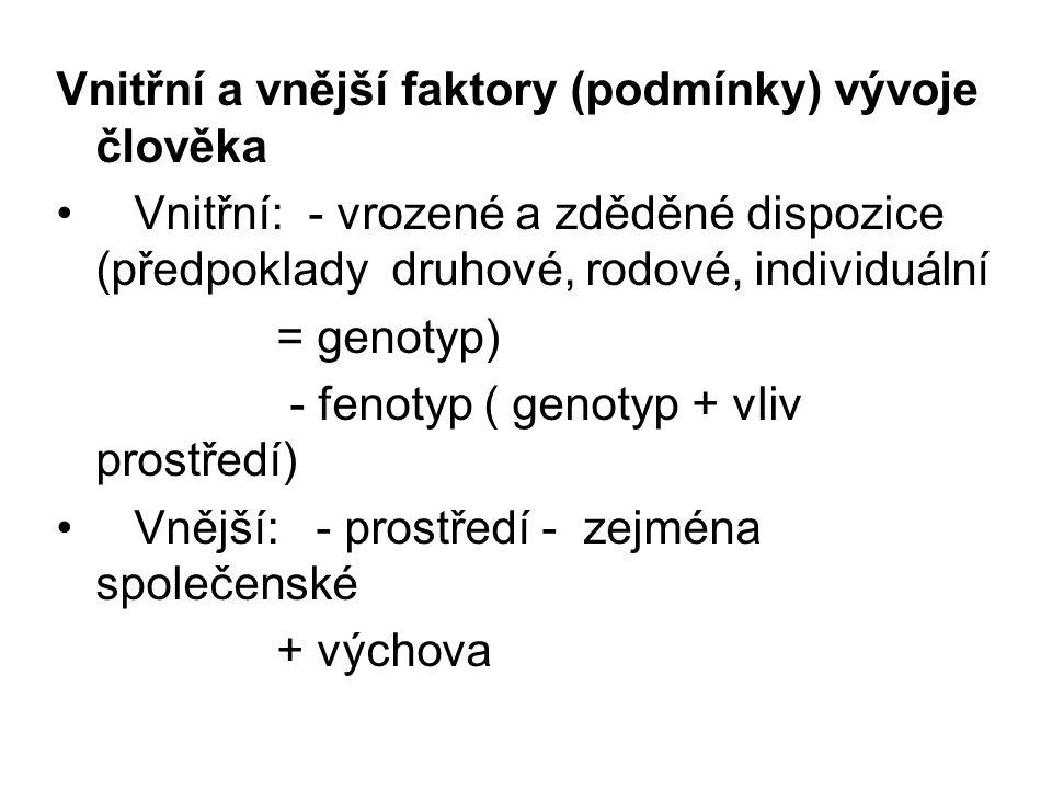 Vnitřní a vnější faktory (podmínky) vývoje člověka Vnitřní: - vrozené a zděděné dispozice (předpoklady druhové, rodové, individuální = genotyp) - feno