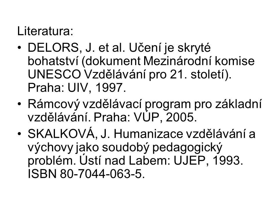 Literatura: DELORS, J. et al. Učení je skryté bohatství (dokument Mezinárodní komise UNESCO Vzdělávání pro 21. století). Praha: UIV, 1997. Rámcový vzd