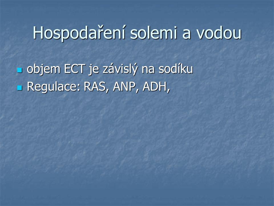 Hospodaření solemi a vodou objem ECT je závislý na sodíku objem ECT je závislý na sodíku Regulace: RAS, ANP, ADH, Regulace: RAS, ANP, ADH,