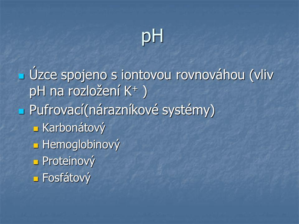 pH pH Úzce spojeno s iontovou rovnováhou (vliv pH na rozložení K + ) Úzce spojeno s iontovou rovnováhou (vliv pH na rozložení K + ) Pufrovací(nárazník