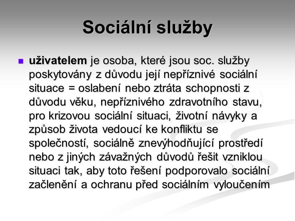 Sociální služby uživatelem je osoba, které jsou soc.
